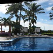 A panoramic of the resort poolside